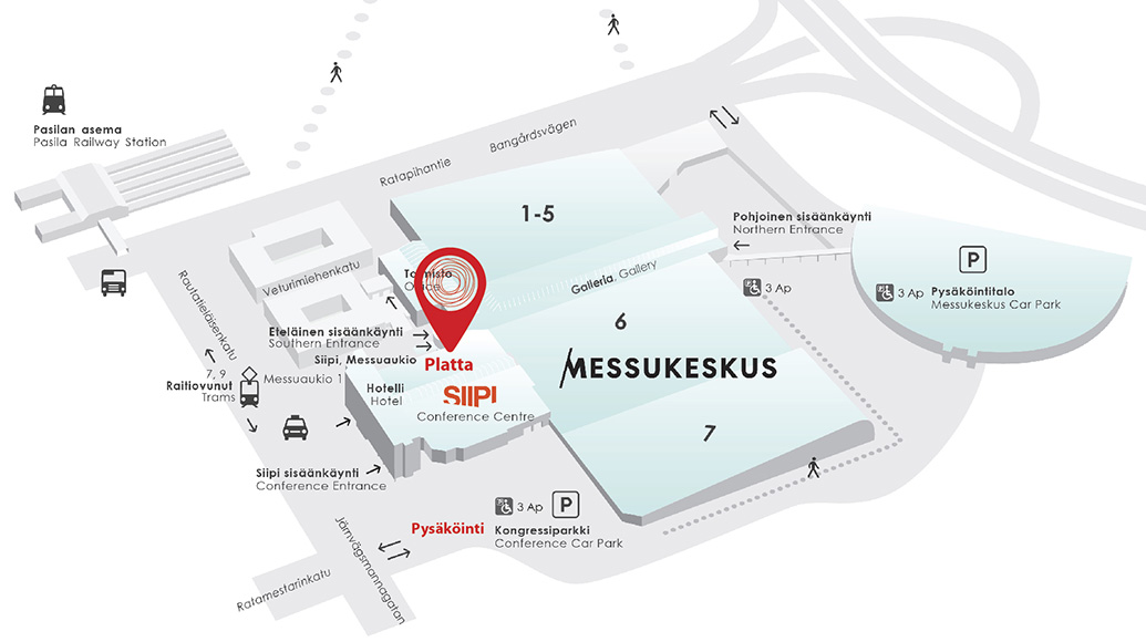 We are located next to Holiday Inn Helsinki Expo & Messukeskus